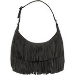 Minnetonka - Hobo Fringe Bag (Women's) - Black Suede